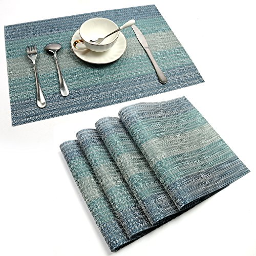 PAUWER Placemats Set of 4 Crossweave Woven Vinyl Placemat for Dining Table Heat Resistant Non-slip Kitchen Table Mats Easy to Clean (Placemats For Dining Table)