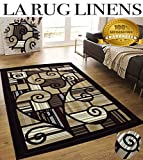Colorful Dark Brown Beige White Black Modern Contemporary Abstract Designer Hand Tufted 5×7 Bedroom Living Room Indoor Outdoor Rug Throw .5 Inch Thin Pile Height ( Royal 2146A Chocolate Burgundy )
