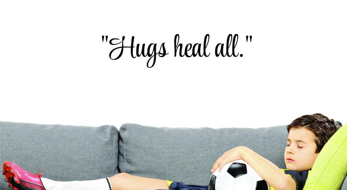 Design with Vinyl US V SOS 761 1 Top Selling Decals Hugs Heal All.Wall Art Size 6 x 20, Black 6 Inches X 20 Inches Color