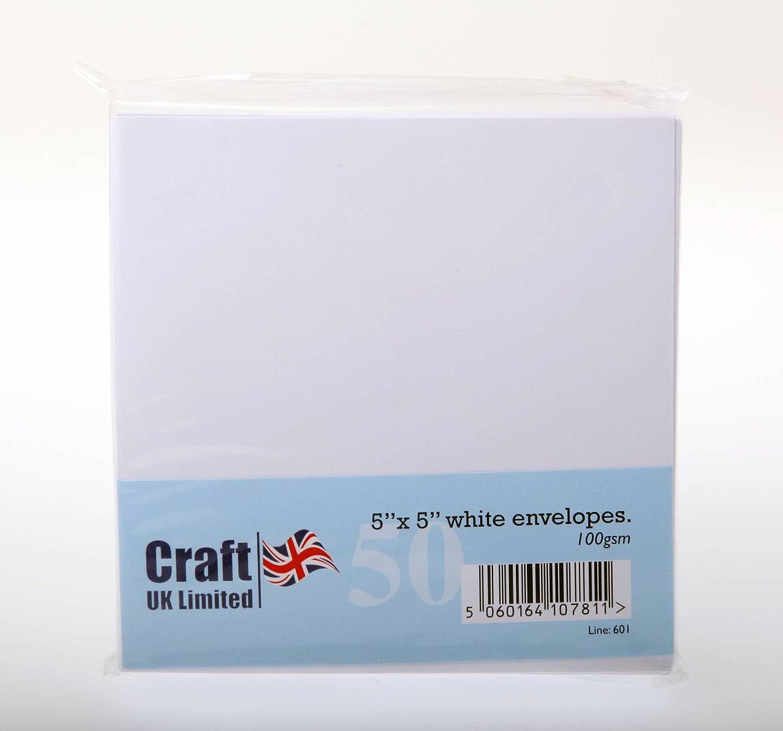 50 5 x 5 White Envelopes Craft UK