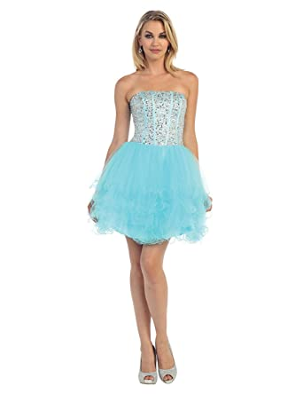 330d25f633f Wishopping Women's Short Strapless Bead Prom Gown Homecoming Dress WH159  Blue Size 2