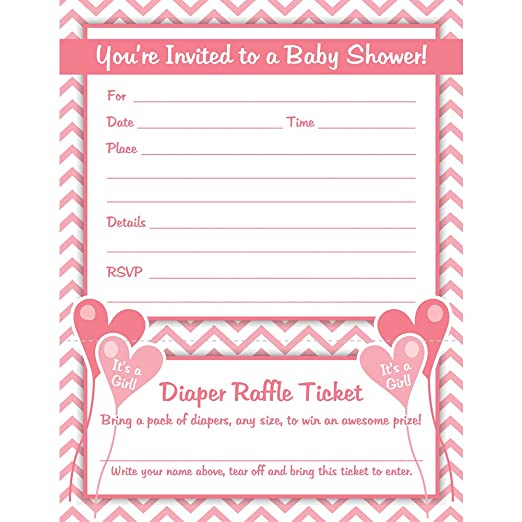 Amazon Girl Baby Shower Invitations With Diaper Raffle Ticket