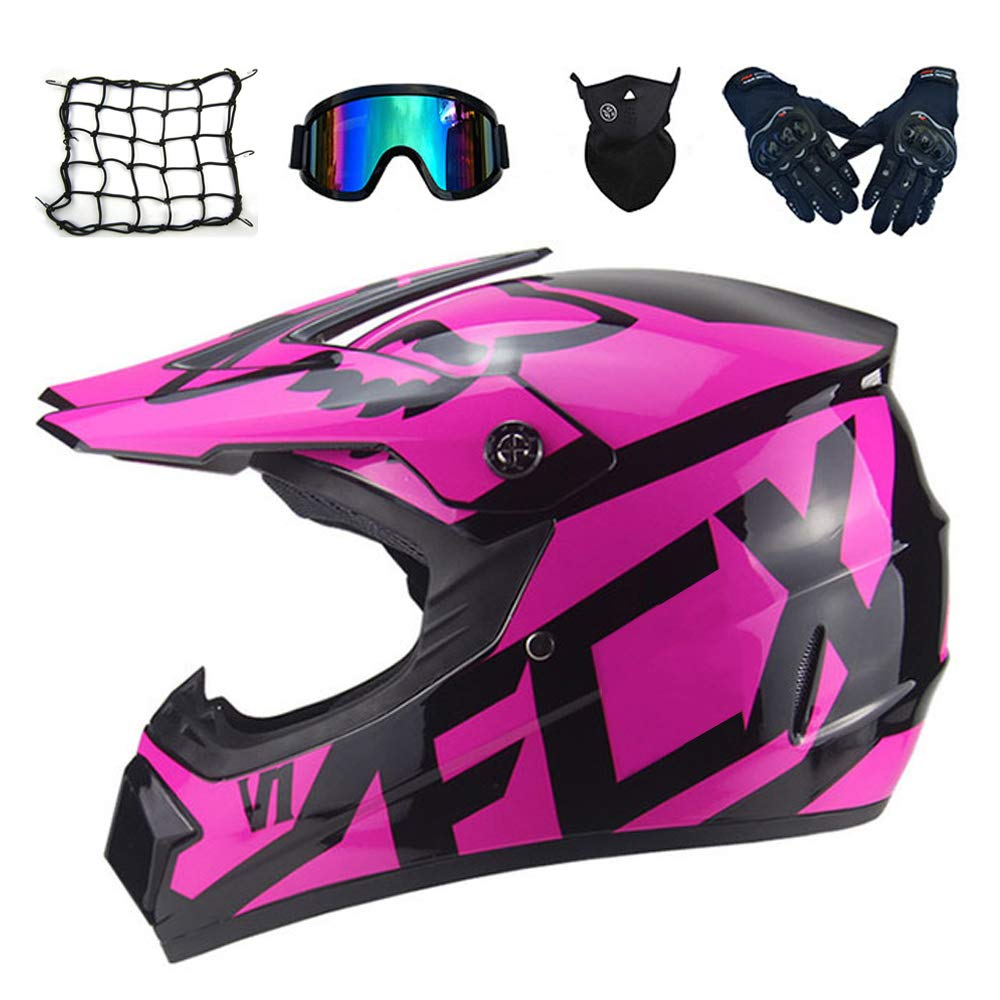 Face Mask MRDEAR Casco Motocross Nero e Rosa Caschi Moto Enduro Downhill Sport Adulto Bambino Donna Guanti Moto Cross Casco da Offroad Kit con Occhiali Rete Elastica Moto