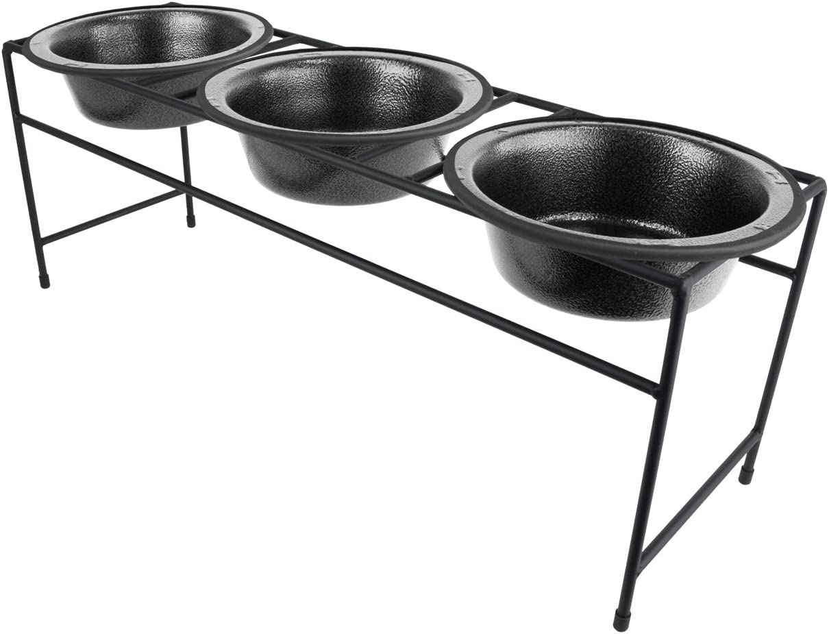 Platinum Pets Modern Triple Diner Feeder with Stainless Steel Cat/Dog Bowl