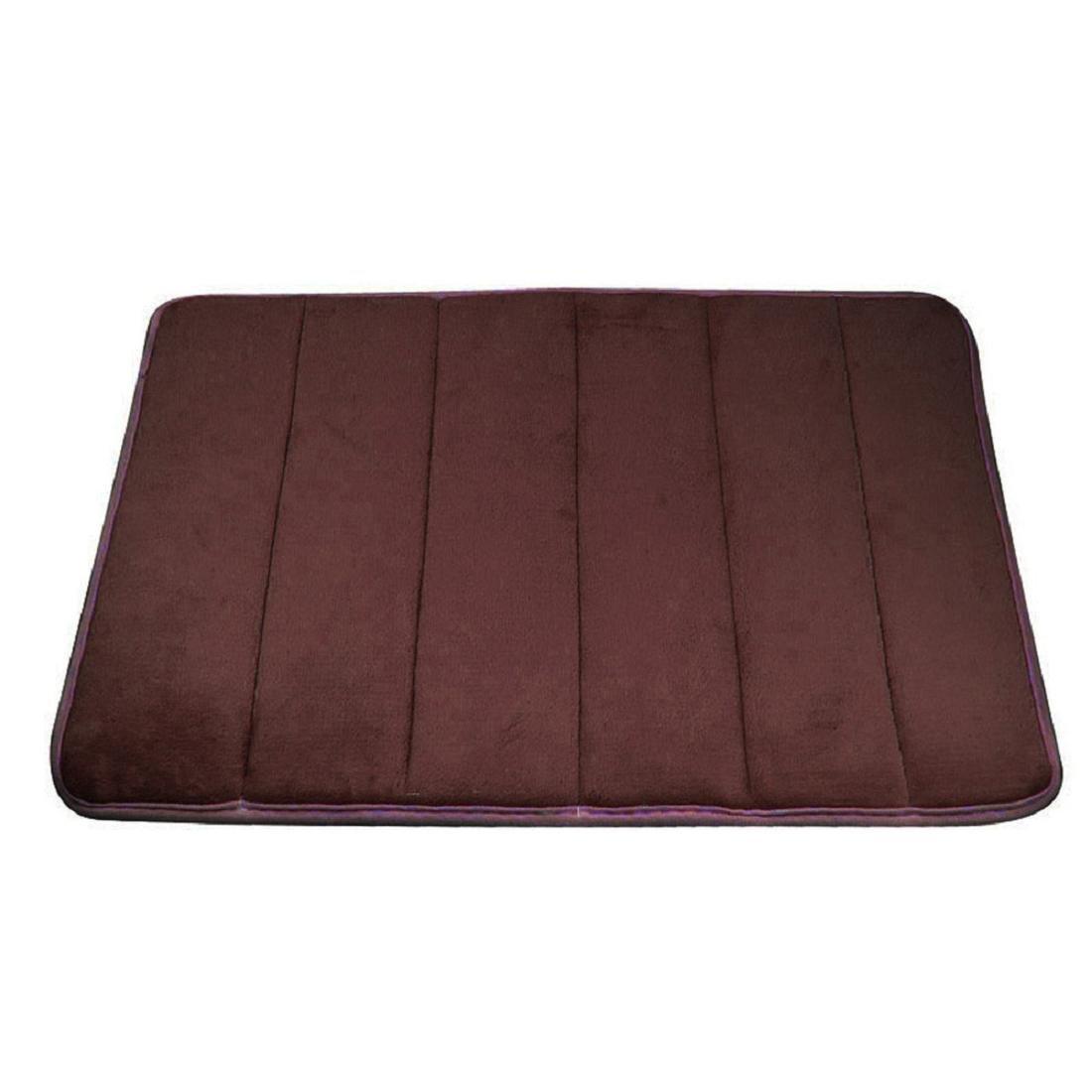Coromose Rugs Vertical Stripes Memory Foam Bath Mat Carpet Floor Mats (Coffee)
