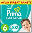 Prima Bebek Bezi Aktif Bebek, 6 Beden, 102 Adet, Ekstra Large Aylık Fırsat Paketi