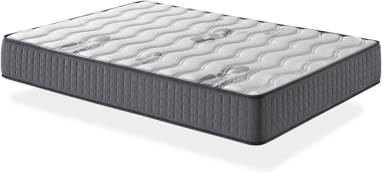 Camapolis-Colchón viscoelástico de 15 cms para cama 90x190cm, reversible con malla transpirable 3D y tejido carbono. Gran comodidad, firmeza ...