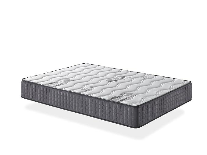 Seasons - Colchón viscoelástico de 25 cms, para cama de 150x190cm. Reversible con malla transpirable 3D y tejido carbono. Gran comodidad.