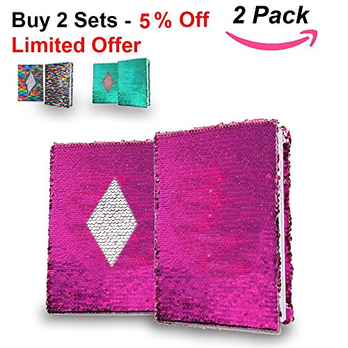 AUTHENTIC Sequin Notebook Easily Change Pink to Silver (White Ruled Paper). Kids Sequin Journal for Great Writing, Good Studying, Relaxing by HADeco, pack of 2 (Pink/Silver) by HADeco sequin notebook