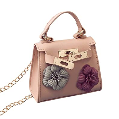 59c47c5501f1 Fashion PU Leather Tote Handbag Elegant Flower Decoration Women Crossbody  Bag Strap Chain Mini Shoulder Bag Small Square Bag  Amazon.co.uk  Shoes    Bags