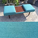 "52"" Retro Teal Mid-Century Modern Coffee Table Ottoman with Teak Laminate Inlay MADE IN THE USA"