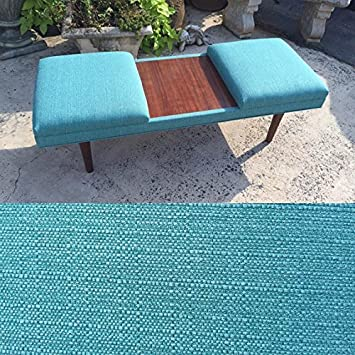 52u0026quot; Retro Teal Mid Century Modern Coffee Table Ottoman With Teak  Laminate Inlay MADE