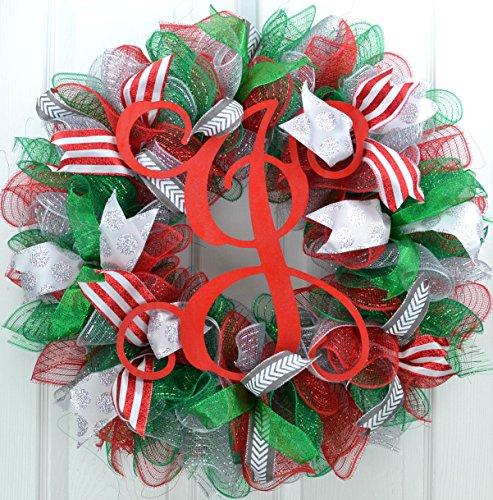 Mesh Christmas Wreath | Red Emerald Green Silver Outdoor Monogram Initial Front Door Wreath : C4 - H&c Silver Wreath