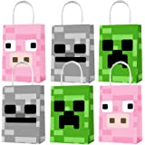 Party Favor Bags 15PCS for Pixel Miner Gift Bags Goodie Bags Pixel Video Game Treat Candy Bags for Pixel Miner Themed Kids Ad