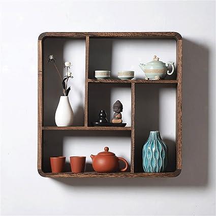 f1516abc37b6 HQQ Estante de pared simple de madera para sala de estar | LOFT estante del  cubo ...