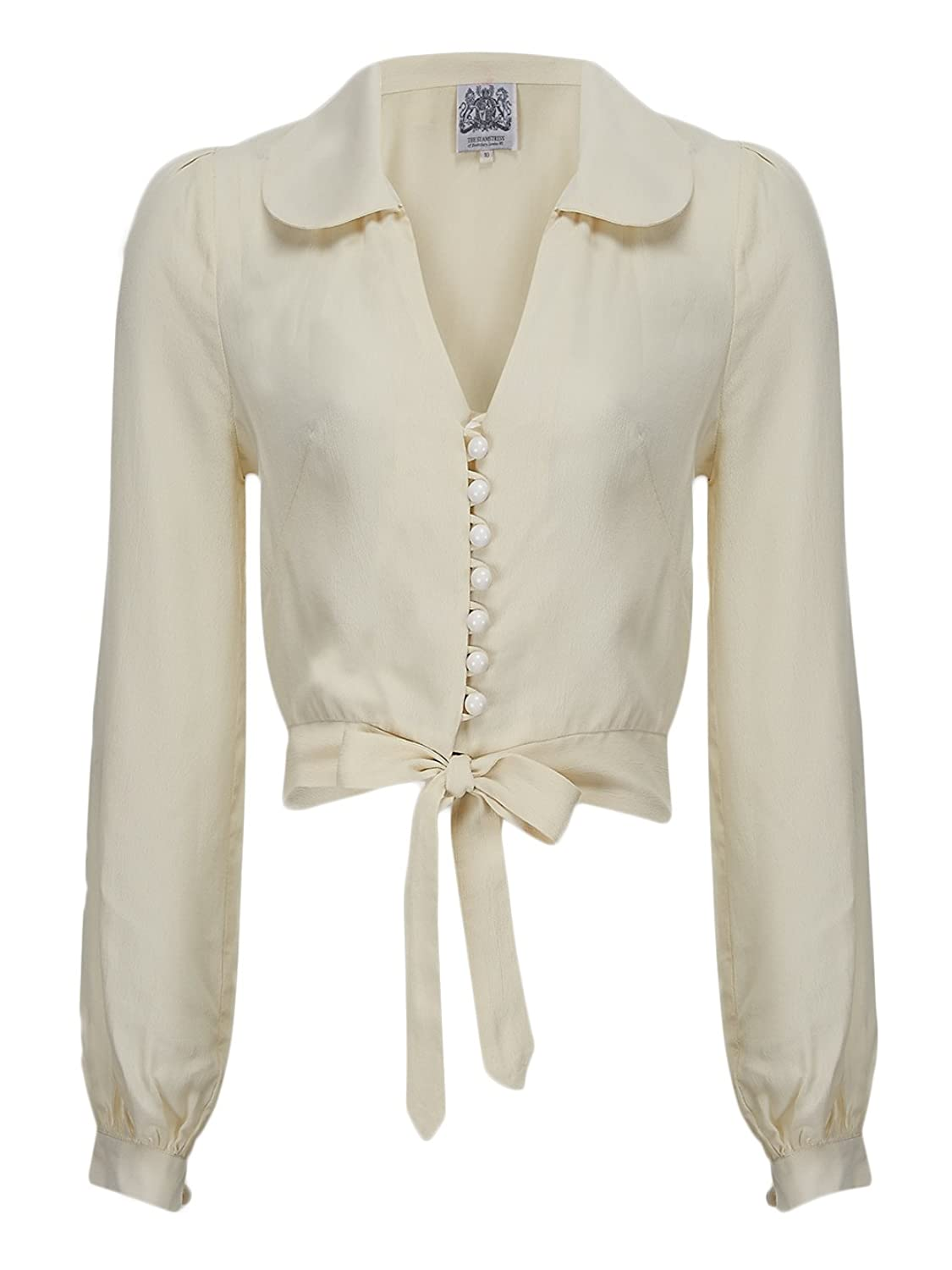 1950s Rockabilly & Pin Up Tops, Blouses, Shirts 1940s/50s Authentic Vintage Inspired Button Up Tie Down Blouse in Cream £39.00 AT vintagedancer.com