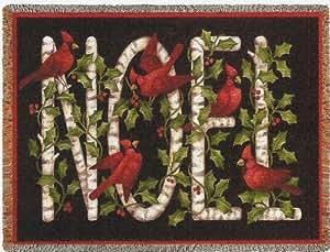 Christmas Cardinal Birds Noel Blanket Throw USA Made