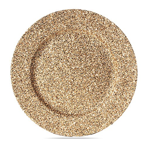 LINYIN Fashionable Gold Glitter Charger Plates For Wedding 6PCS/SET