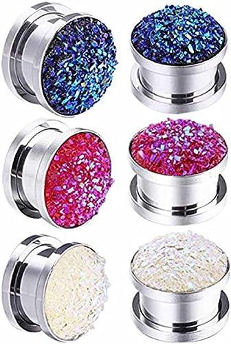 Pair Glitter Stars Acrylic Ear Plugs Screw Fit Gauges Flesh Tunnels Earrings