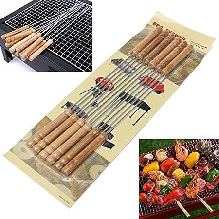 AirCrown 12PCS BBQ BROCHETTE Skewers 41CM Stainless Steel Needle Tandoor Kebab Sticks