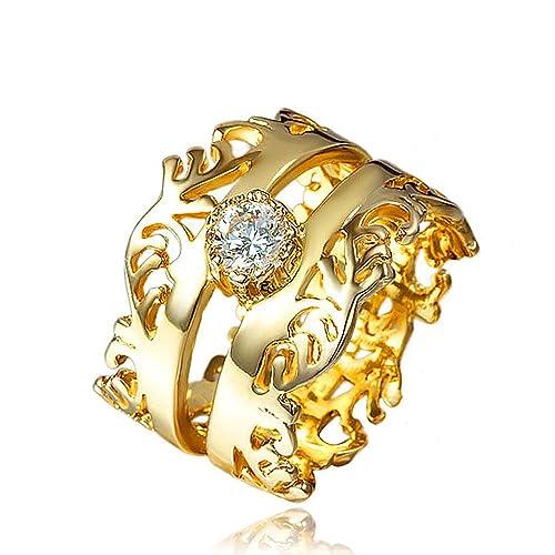 58ce80003e4582 Elegant Design Wedding Infinity Love 18K Gold Plated White Shining White  Stone Wedding Ring