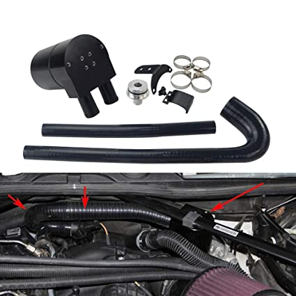 Amazon.com: PQYRACING Black Aluminum Alloy Reservior Oil Catch Can Tank with Silicone Radiator Hose Compatible for BMW N20/N26: Automotive