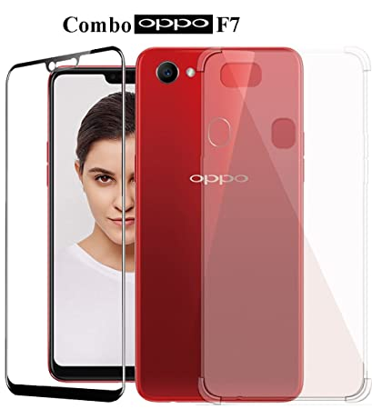 buy popular 8d5a5 78f1c Mowear Shockproof Back Cover with 5D Full Edged Tempered Glass for Oppo F7  (Transparent)