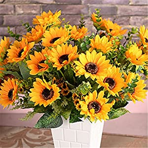 JJH 1 Branch Silk Plastic Sunflowers Tabletop Flower Artificial Flowers 7