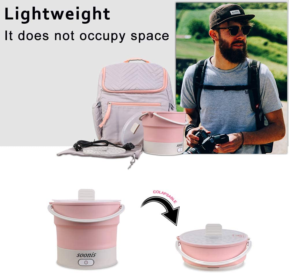 Soonis Portable Electric Skillet Voltage 100V-240V Collapsible Electric Hot Pot Food Grade Silicone Mini Electric Kettle Travel Outdoor(pink) pink