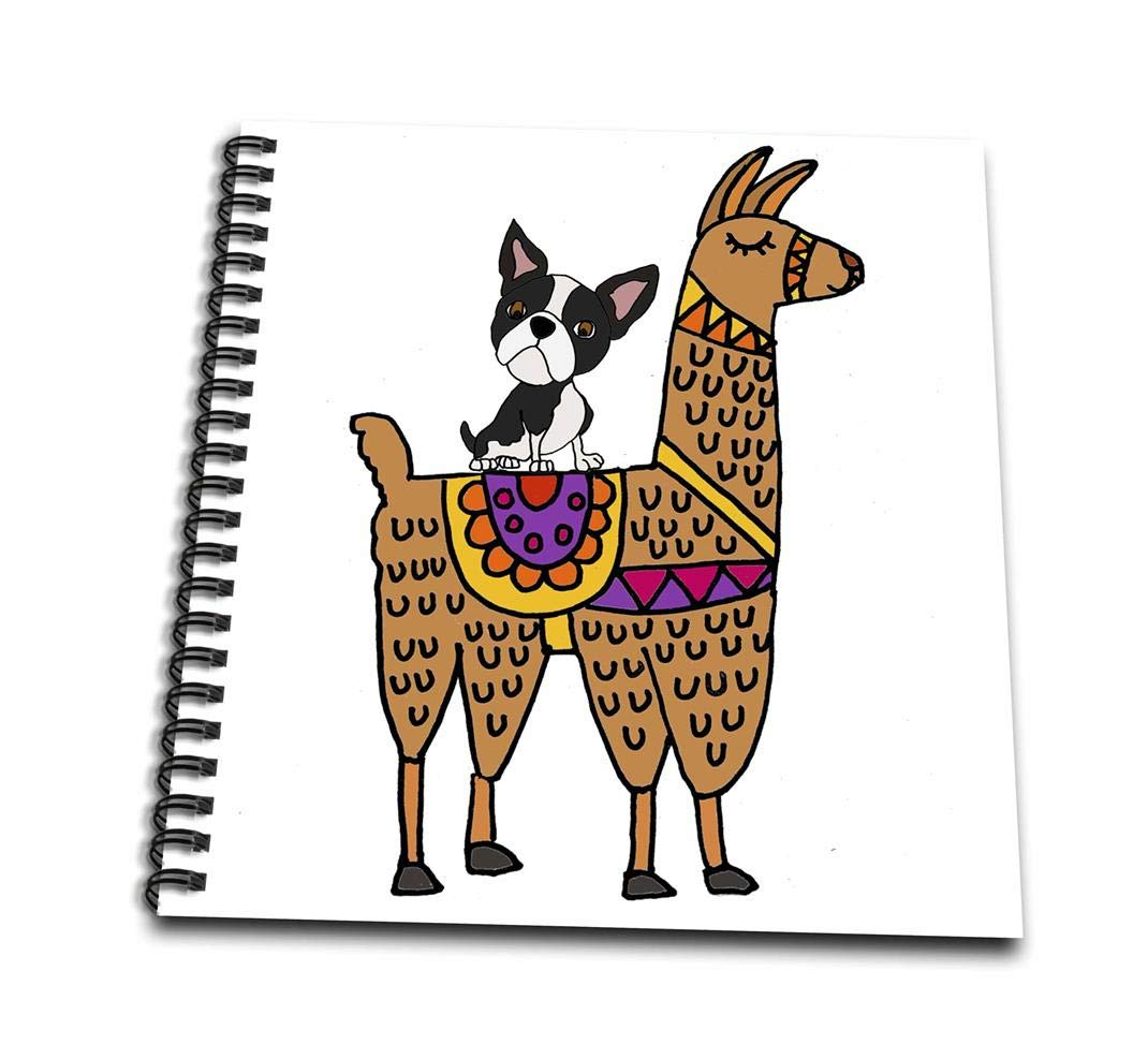 Amazon com 3drose funny cool boston terrier dog riding llama cartoon drawing book 4 x 4 arts crafts sewing