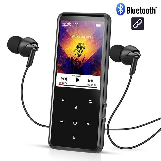 Reproductor Mp3 Bluetooth 16 GB, Pantalla 2.4 pulgadas a Colores, Mp3 Player de Metalico con Radio FM y Ranura para Micro SD Tarjeta, Color Negro- AGPTEK ...