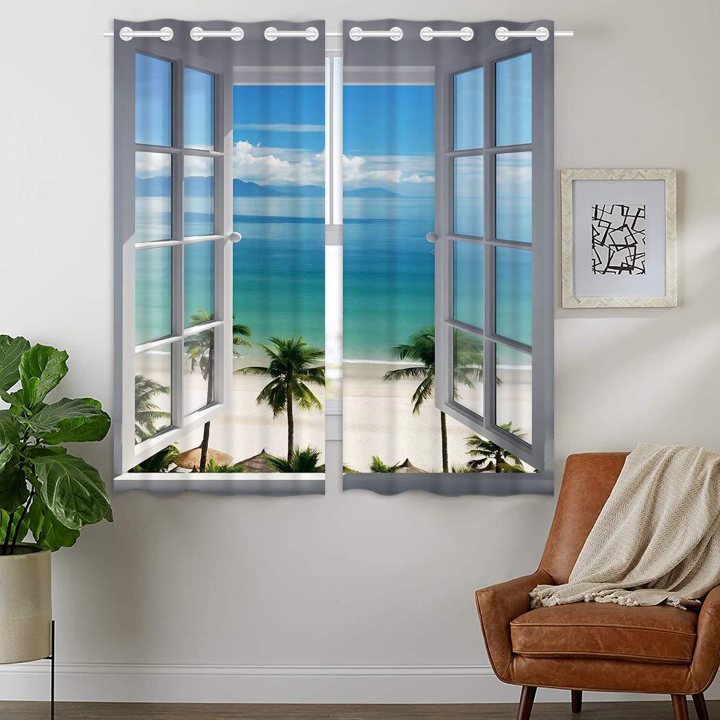 YISUMEI - Vorhang Blcikdicht - Strandfenster - 245 x 140 cm 2er Set Gardinen mit Ösen für Schlafzimmer Wohnzimmer