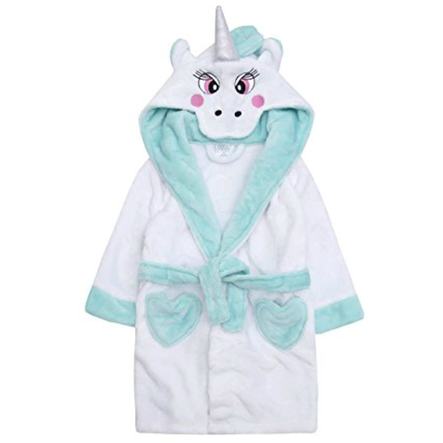 Girls Unicorn Dressing Gown Robe Face To Hood Horn and Tail 2-3Y To 13Y