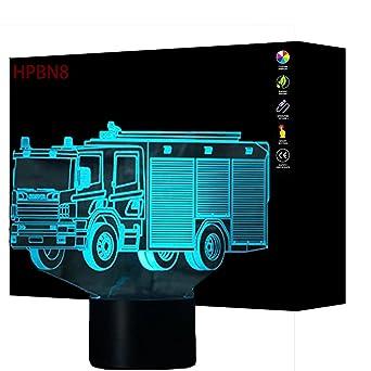 3d Camion De Pompier Led Lampe Art Deco Lampe Lumieres Led