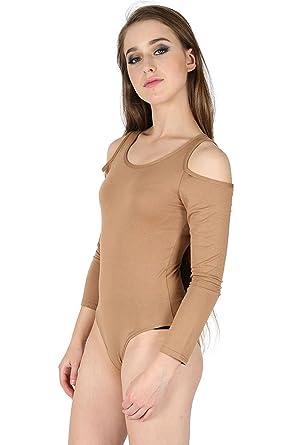 e1608d1b30 Oops Outlet Women s Long Sleeve Open Cold Cut Out Shoulder Leotard Bodysuit  Tops M L