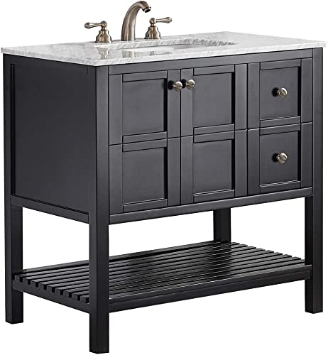 Vinnova 713036-ES-CA-NM Florence 36 Vanity in Espresso with Carrera White Marble Countertop without Mirror, 36 Inch