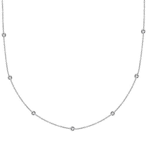 Ritastephens Sterling Silver or Gold Tone Cubic Zirconia CZ By the Yard Station Anklet or Necklace 10, 18, 20, 24, 30 Inches