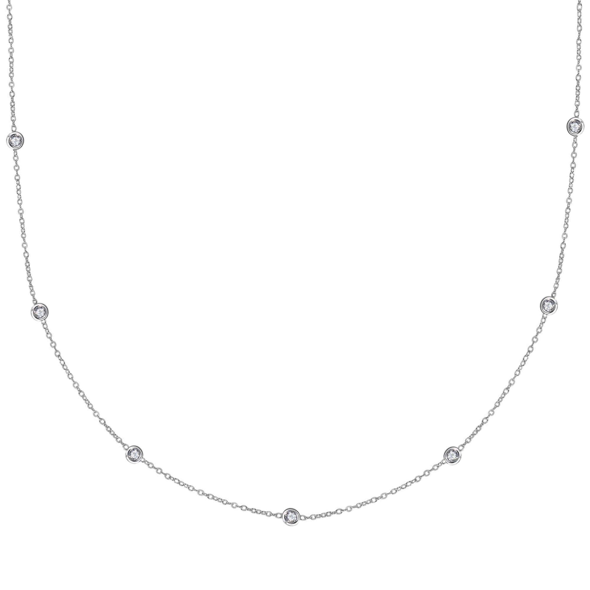 Sterling Silver Cz by the Yard Station Necklace (18 Inches)
