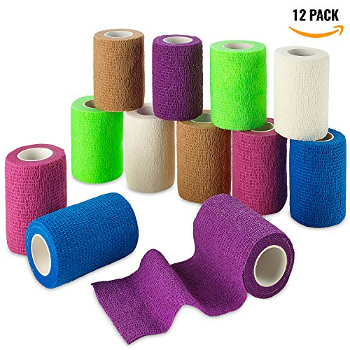 (Self Adherent Wrap - Bulk Pack of 12, Athletic Tape Rolls and Sports Wraps, Self Cohesive Non-Woven Adhesive Bandage (3 In x 5 Yards) FDA Approved for Ankle Sprains & Swelling)