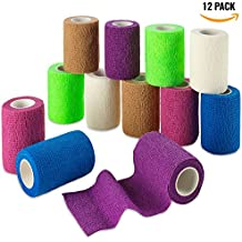 Self Adherent Wrap - Bulk Pack of 12, Athletic Tape Rolls and Sports Wraps, Self Cohesive Non-Woven Adhesive Bandage (3 In x 5 Yards) FDA Approved for Ankle Sprains & Swelling