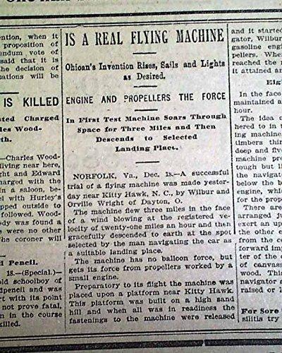 (Historic WRIGHT BROTHERS Wilbur Kitty Hawk NC Flyer 1st Flight 1903 Newspaper THE OMAHA DAILY BEE, Nebraska, Dec. 19, 1903 )
