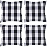 Johouse White and Black Buffalo Check Plaid Throw Pillow Covers,4 Pack Cushion Case Cotton Polyester for Farmhouse Home…