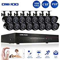 OWSOO 16CH CIF CCTV DVR Security Kit HDMI P2P Cloud Network Digital Video Recorder + 16x 800TVL Outdoor/Indoor Infrared Camera, Support IR-CUT Night Vision Weatherproof Plug and Play