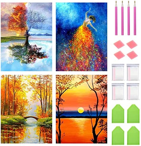 FineGearPow 4 Pack 5D DIY Diamond Painting Kit Full Drill Crystal Embroidery Painting Cross Stitch Arts Crafts for Home Wall Decor, 11.8 x 15.7 inches Without Frame