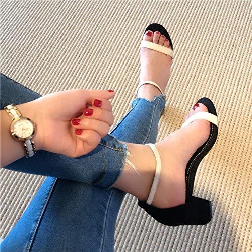 Pour Femme Fendue Dew EU37 Épais Sandales Heel Satin Avec Avec Toe SHOESHAOGE L'High Shoes 75RPwxqqC
