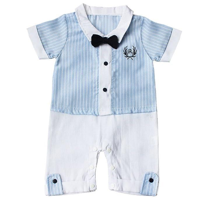 Le SSara Bebé niño azul raya caballero mameluco mono traje ...