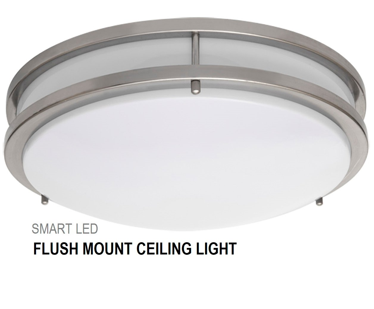 SmartLED 16-Inch LED Flush Mount Ceiling Light Fixture, Antique Brushed Nickel, Dimmable, 23W (180W Equivalent) 1610 Lumens, 4000K/5000K, CRI80, ETL Listed, ENERGY STAR Certified (1-Pack, 4000K)