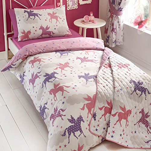 Kidz Club Divine Unicorn Duvet Quilt Cover and Pillowcase Bedding Set For Girls, Pink