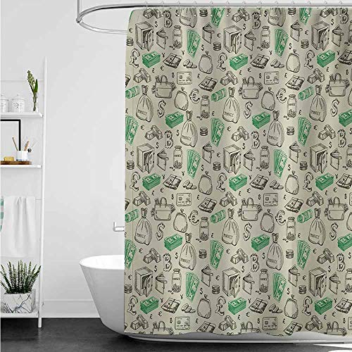 home1love Polyester Fabric Shower Curtain,Money Symbols of Monetary Systems Dollar Crypto Currency Bitcoin Sign Sketch,Shower Curtain with Hooks,W55x84L,Pale Green Lime Green
