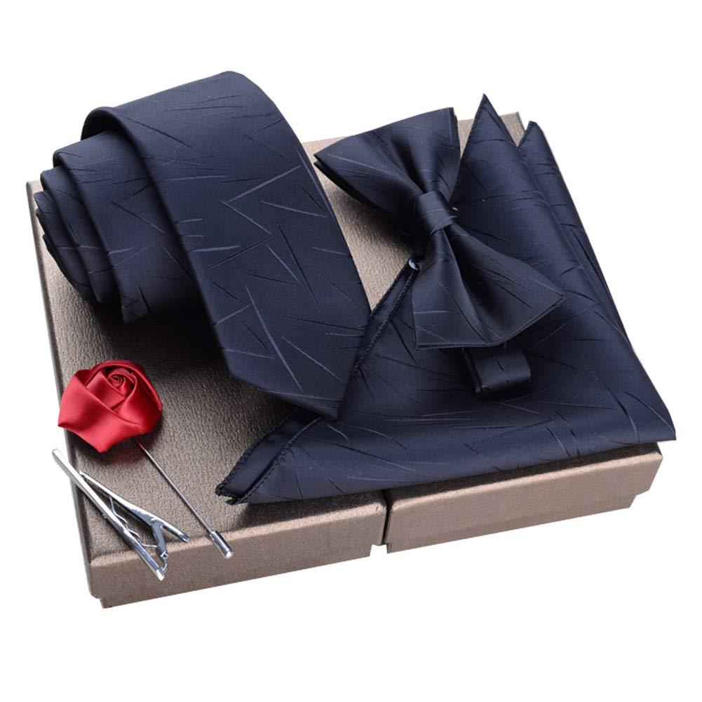 Lanburch Fashionable Premium Formal/Informal Ties Set, Necktie/Bow Tie/Pocket Square for Mens/Boys, Lightning Pattern Black